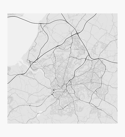 Bristol, England Map. (Black on white) Photographic Print