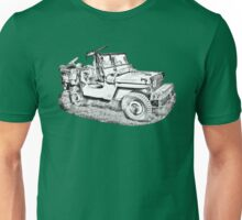 Willys World War Two Army Jeep Illustration Unisex T-Shirt