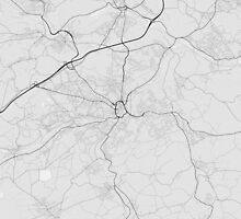 Huddersfield, England Map. (Black on white) by Graphical-Maps