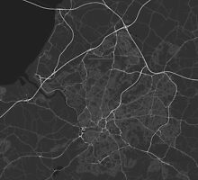 Bristol, England Map. (White on black) by Graphical-Maps