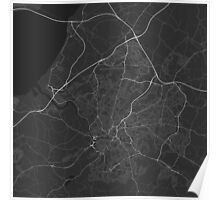 Bristol, England Map. (White on black) Poster
