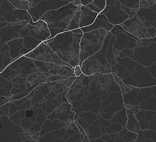 Huddersfield, England Map. (White on black) by Graphical-Maps