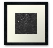 Huddersfield, England Map. (White on black) Framed Print