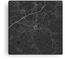 Huddersfield, England Map. (White on black) Canvas Print