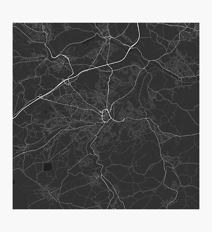 Huddersfield, England Map. (White on black) Photographic Print