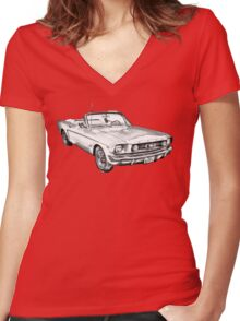 1965 Red Ford Mustang Convertible Drawing Women's Fitted V-Neck T-Shirt
