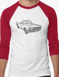 1965 Red Ford Mustang Convertible Drawing Men's Baseball ¾ T-Shirt