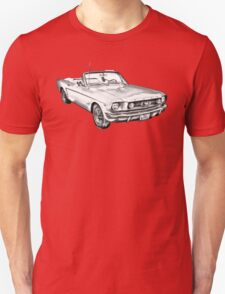 1965 Red Ford Mustang Convertible Drawing T-Shirt