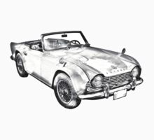 Illustration Of Triumph Tr4 Sports Car Kids Clothes