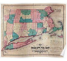 0385 Railroad Maps Map of the Shore Line Rail Road route between New York and Boston showing its rail road and steamboat connection with New York New Haven New London Poster