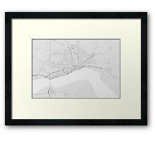 Hull, England Map. (Black on white) Framed Print