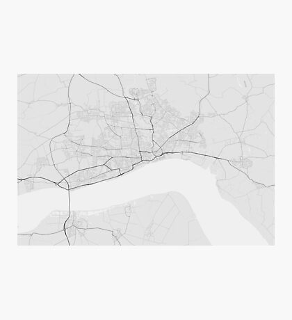 Hull, England Map. (Black on white) Photographic Print