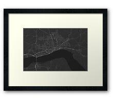 Hull, England Map. (White on black) Framed Print