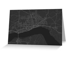 Hull, England Map. (White on black) Greeting Card