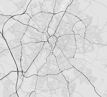 Leicester, England Map. (Black on white) by Graphical-Maps