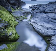 Cornwall- Trebarwith Strand Blues by Angie Latham