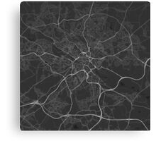 Leeds, England Map. (White on black) Canvas Print