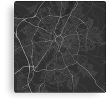 Leicester, England Map. (White on black) Canvas Print