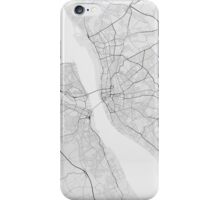 Liverpool, England Map. (Black on white) iPhone Case/Skin