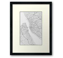 Liverpool, England Map. (Black on white) Framed Print