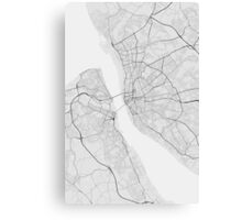 Liverpool, England Map. (Black on white) Canvas Print
