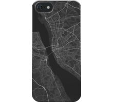 Liverpool, England Map. (White on black) iPhone Case/Skin