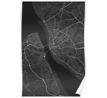 Liverpool, England Map. (White on black) Poster