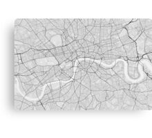 London, England Map. (Black on white) Canvas Print