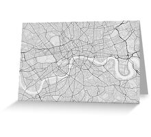 London, England Map. (Black on white) Greeting Card