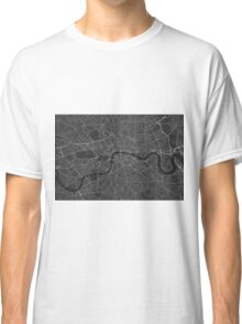 London, England Map. (White on black) Classic T-Shirt
