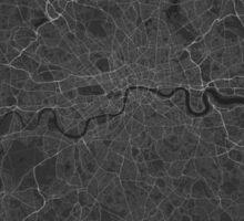 London, England Map. (White on black) Sticker