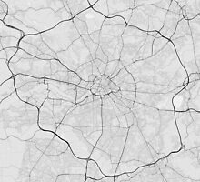 Manchester, England Map. (Black on white) by Graphical-Maps