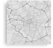 Manchester, England Map. (Black on white) Canvas Print