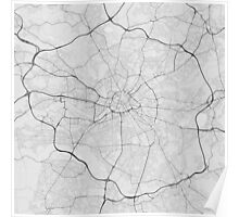 Manchester, England Map. (Black on white) Poster