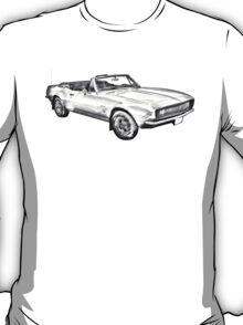 1967 Convertible Camaro Car Illustration T-Shirt