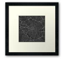 Manchester, England Map. (White on black) Framed Print
