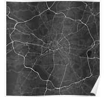 Manchester, England Map. (White on black) Poster