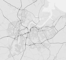 Middlesbrough, England Map. (Black on white) by Graphical-Maps