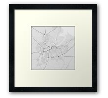 Middlesbrough, England Map. (Black on white) Framed Print