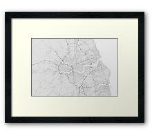 Newcastle, England Map. (Black on white) Framed Print