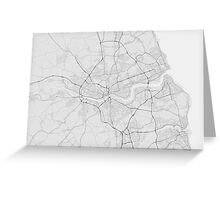 Newcastle, England Map. (Black on white) Greeting Card
