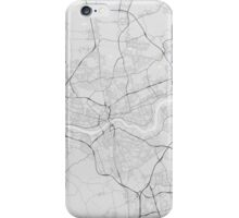 Newcastle, England Map. (Black on white) iPhone Case/Skin
