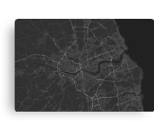 Newcastle, England Map. (White on black) Canvas Print