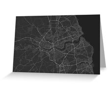 Newcastle, England Map. (White on black) Greeting Card