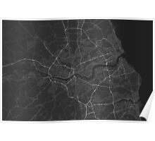 Newcastle, England Map. (White on black) Poster