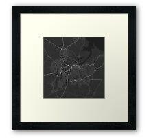Middlesbrough, England Map. (White on black) Framed Print