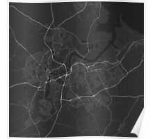 Middlesbrough, England Map. (White on black) Poster