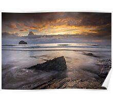 Cornwall - Trebarwith Sunset Poster