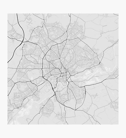 Nottingham, England Map. (Black on white) Photographic Print