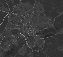 Nottingham, England Map. (White on black) by Graphical-Maps